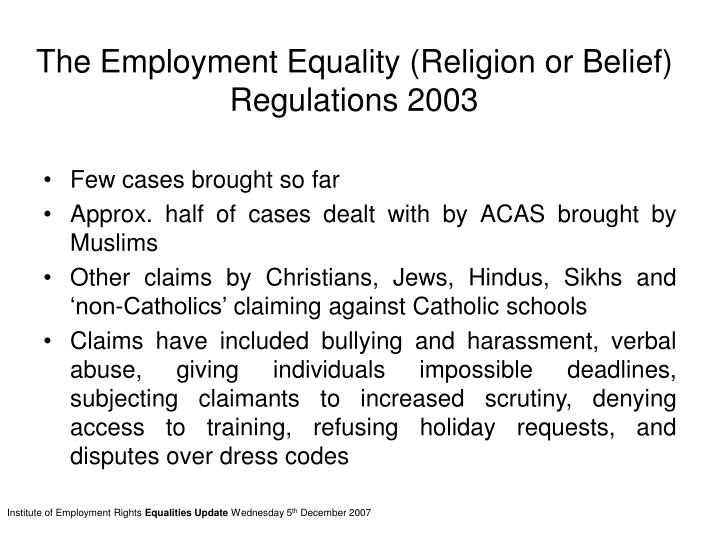 The employment equality religion or belief regulations 2003