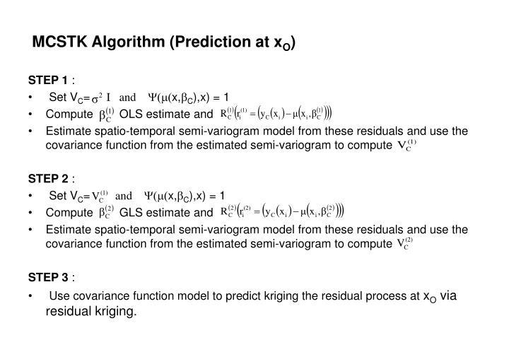 MCSTK Algorithm (Prediction at x
