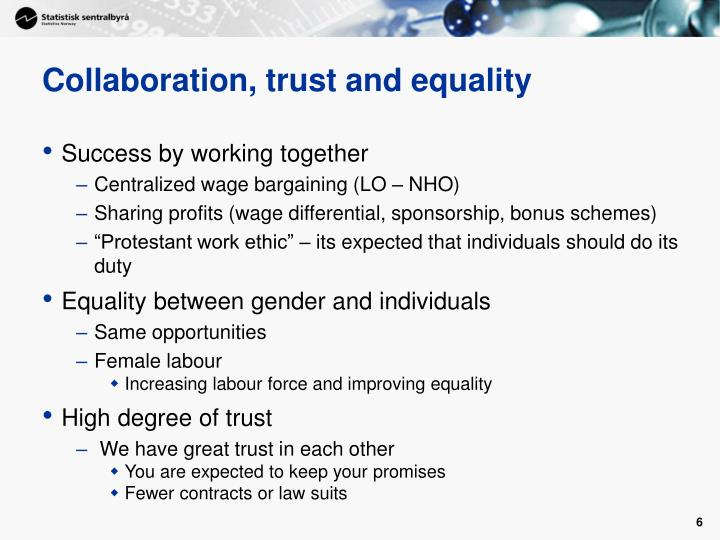Collaboration, trust and equality
