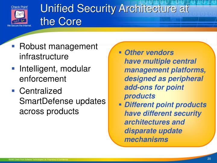 Unified Security Architecture at the Core