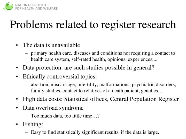 Problems related to register research