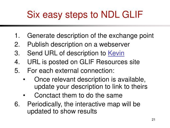 Six easy steps to NDL GLIF