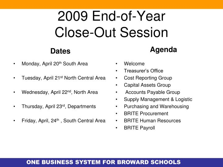 2009 end of year close out session n.