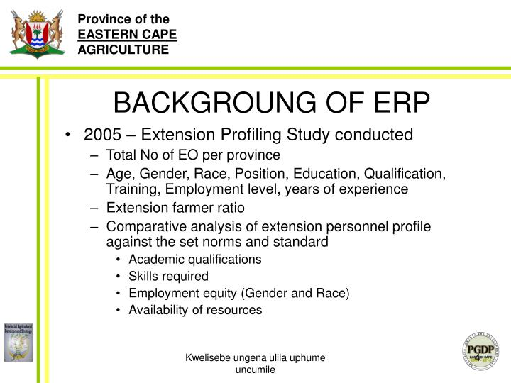 BACKGROUNG OF ERP