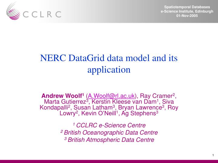 nerc datagrid data model and its application n.