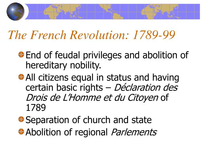 The French Revolution: 1789-99