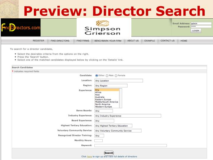 Preview: Director Search