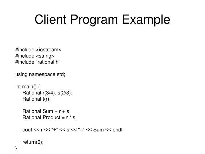 Client Program Example