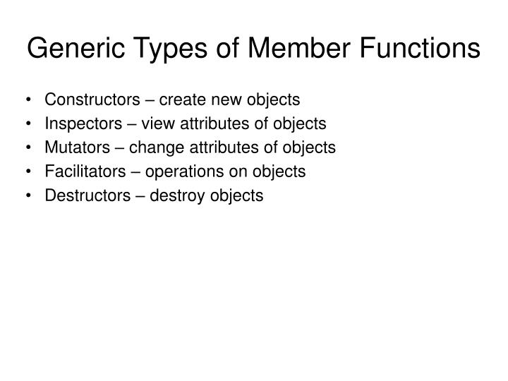 Generic Types of Member Functions
