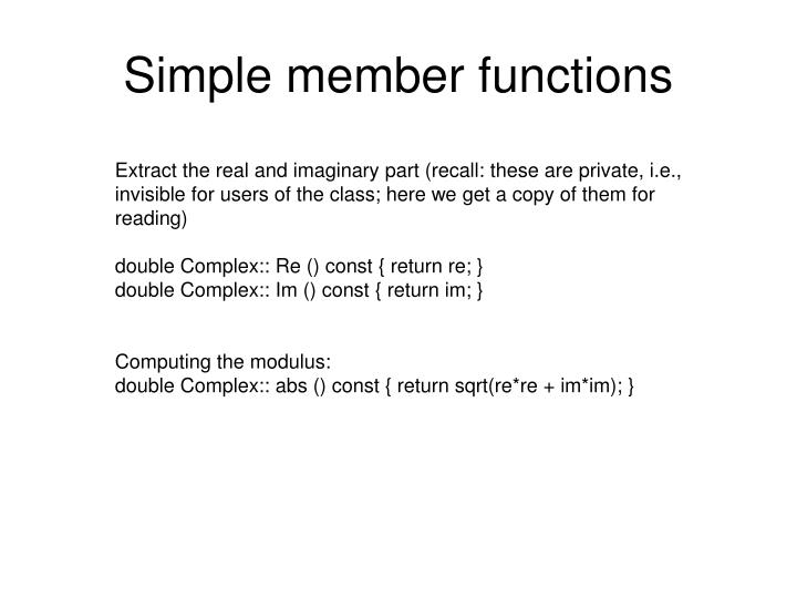 Simple member functions