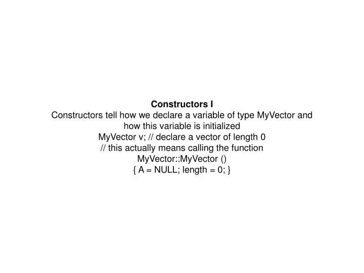 Constructors I