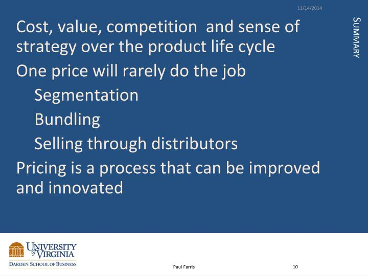 Cost, value, competition  and sense of strategy over the product life cycle