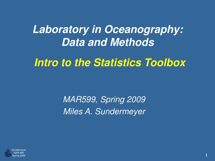 laboratory in oceanography data and methods