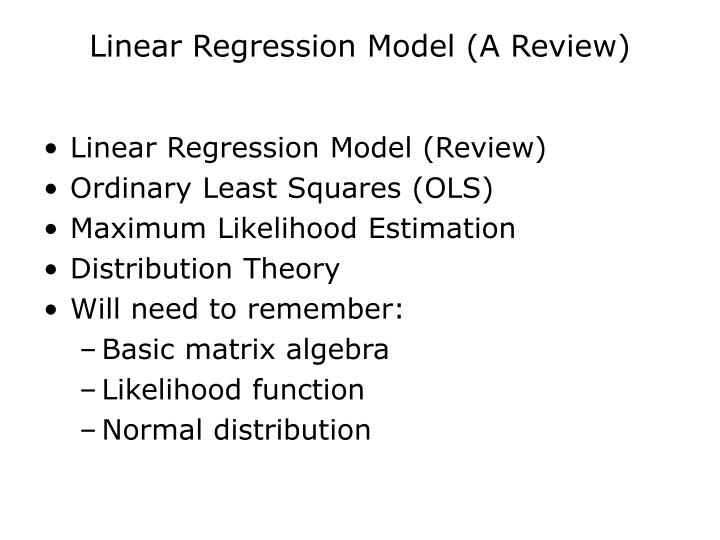 Linear regression model a review
