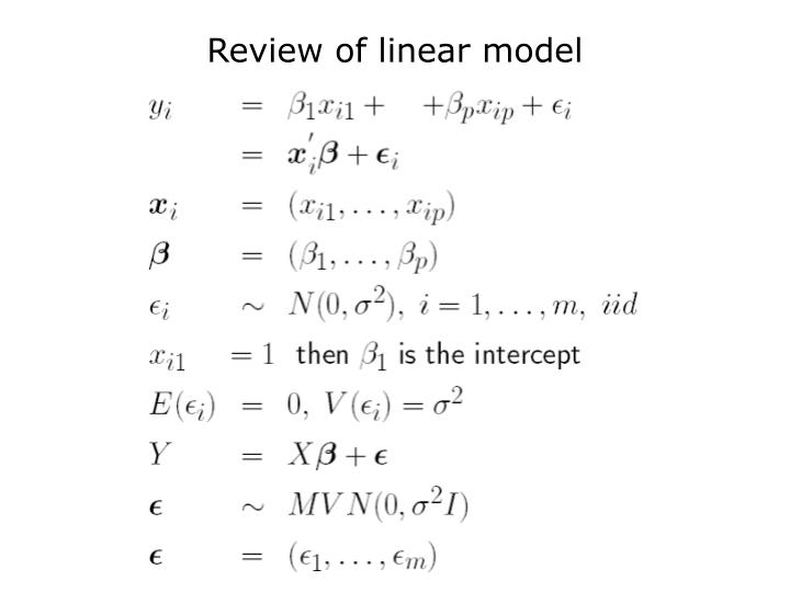 Review of linear model