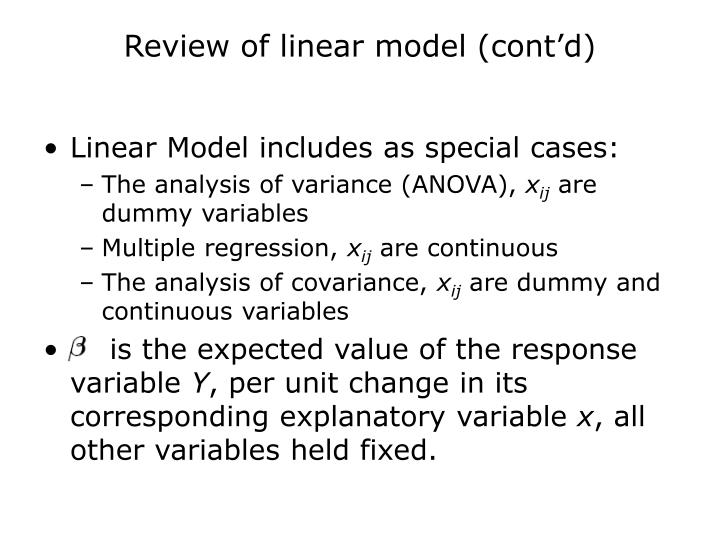 Review of linear model (cont'd)