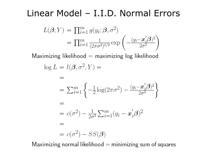 Linear Model – I.I.D. Normal Errors