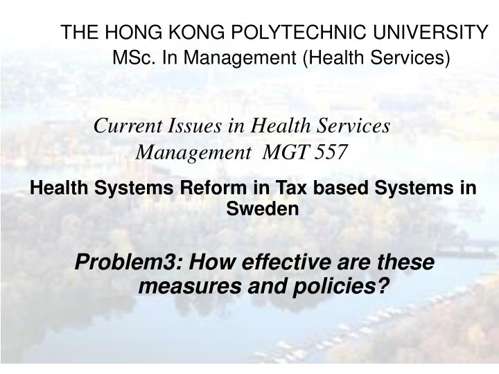 the hong kong polytechnic university msc in management health services