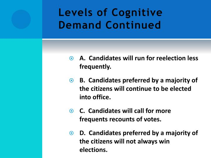Levels of Cognitive Demand Continued