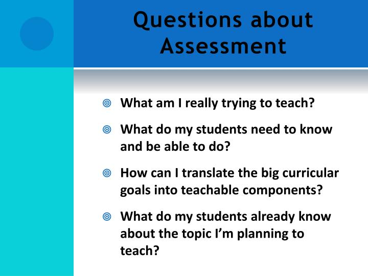 Questions about Assessment