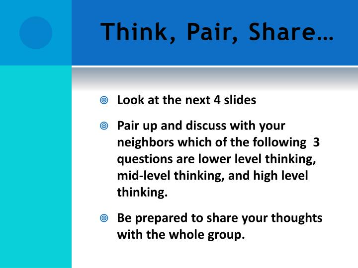 Think, Pair, Share…