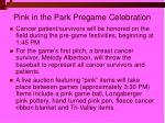 pink in the park pregame celebration