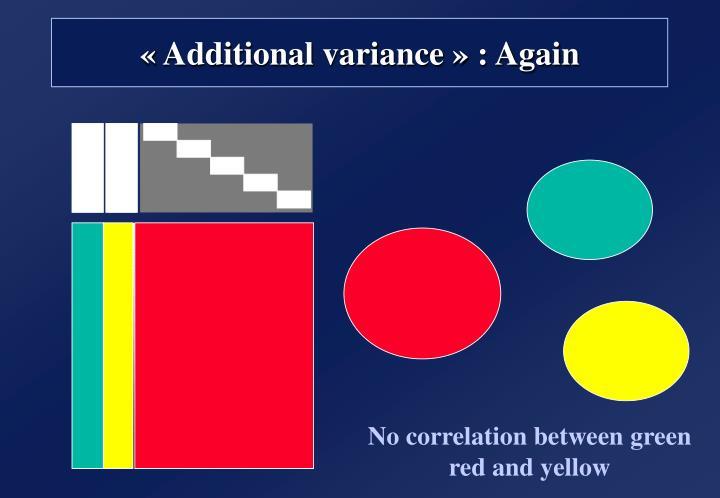 «Additional variance» : Again
