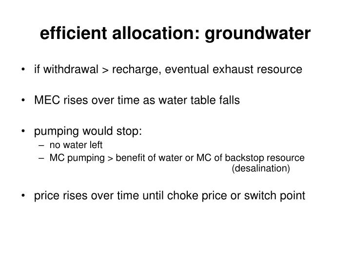 efficient allocation: groundwater