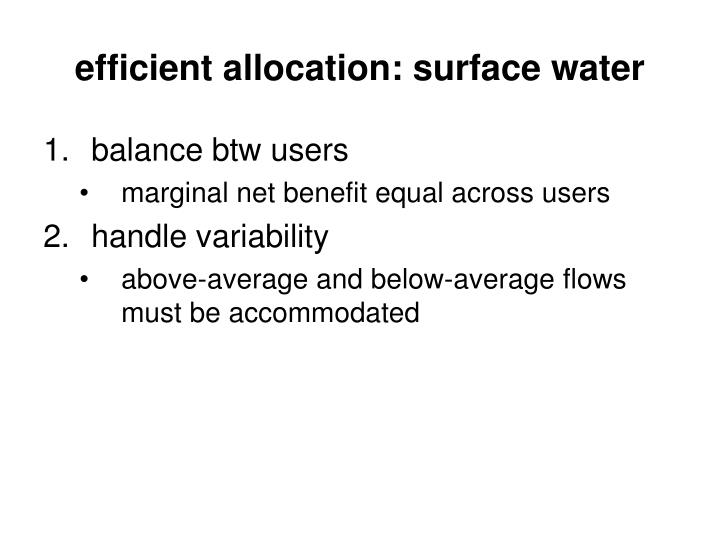 efficient allocation: surface water