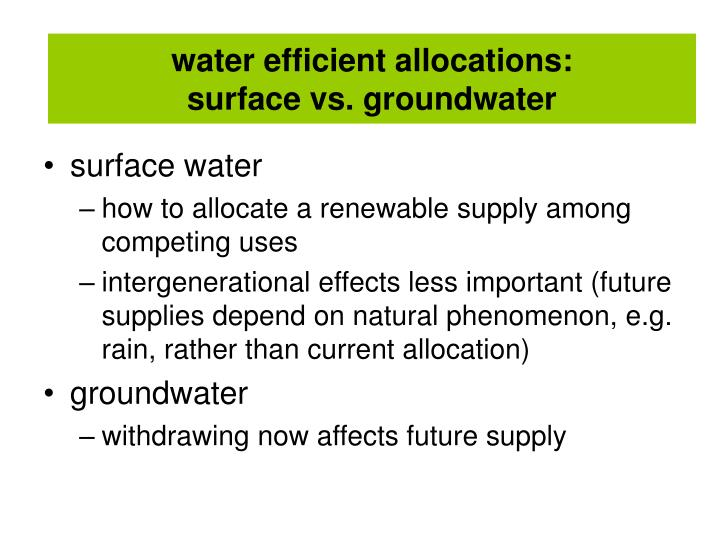water efficient allocations: