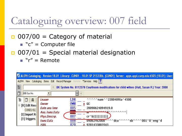 Cataloguing overview: 007 field