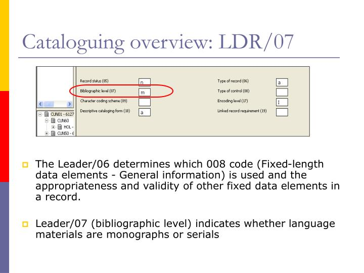 Cataloguing overview: LDR/07