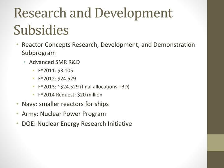 Research and Development Subsidies