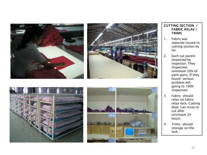 CUTTING SECTION  / FABRIC RELAX / TRIMS