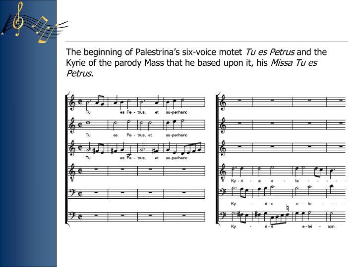 The beginning of Palestrina's six-voice motet