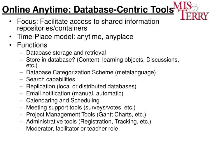 Online Anytime: Database-Centric Tools