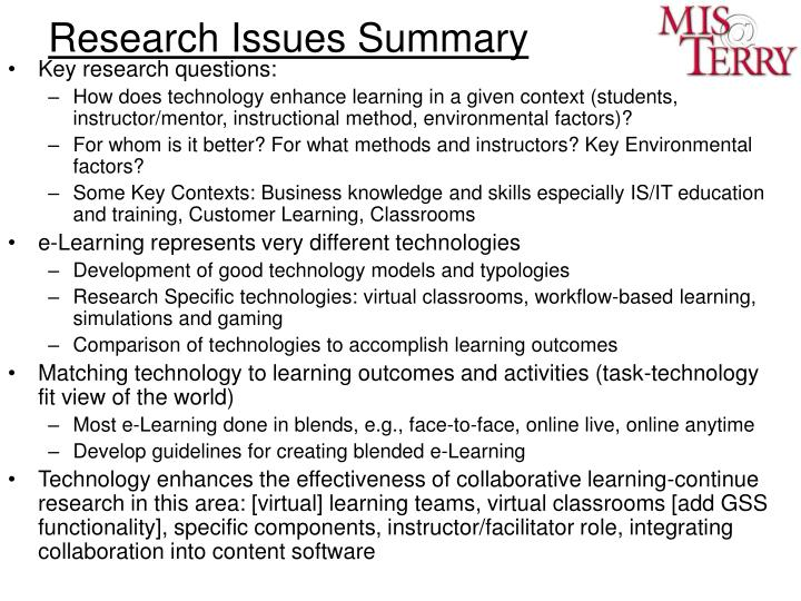 Research Issues Summary