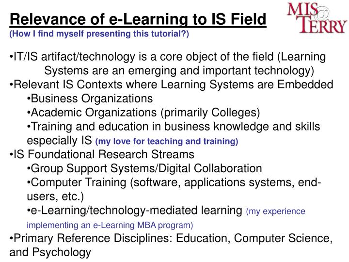 Relevance of e-Learning to IS Field