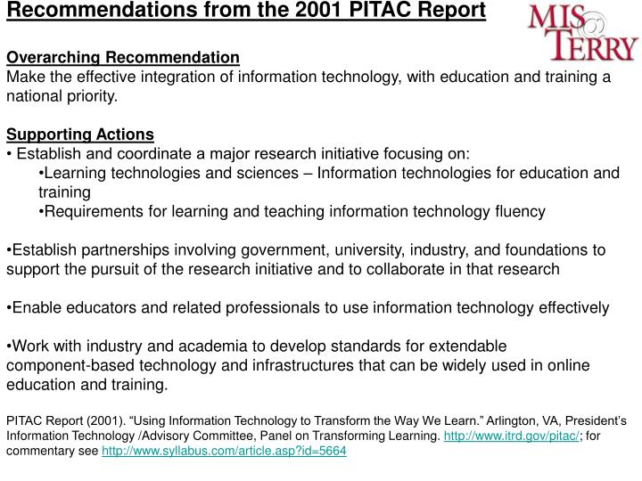 Recommendations from the 2001 PITAC Report