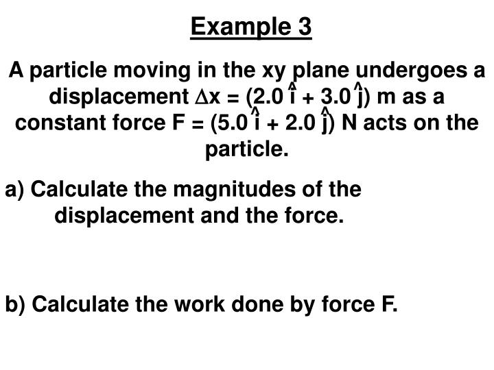 A particle moving in the xy plane undergoes a displacement