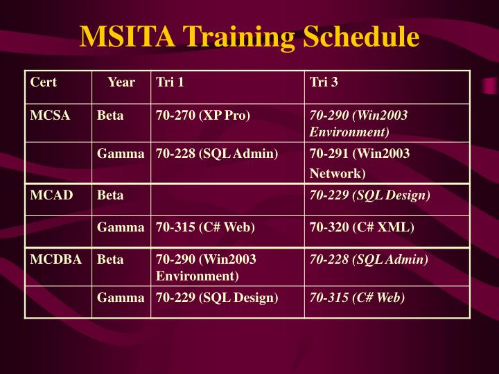 MSITA Training Schedule