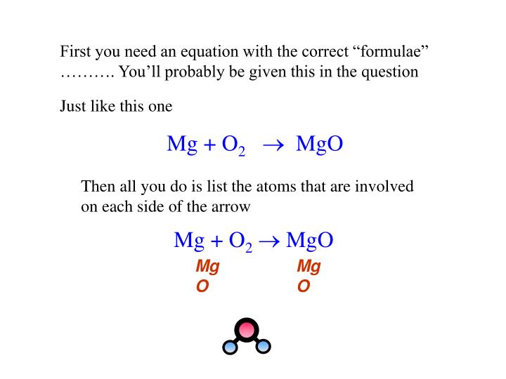 Then all you do is list the atoms that are involved  on each side of the arrow