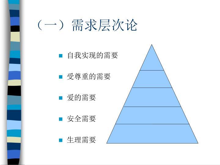 (一)需求层次论
