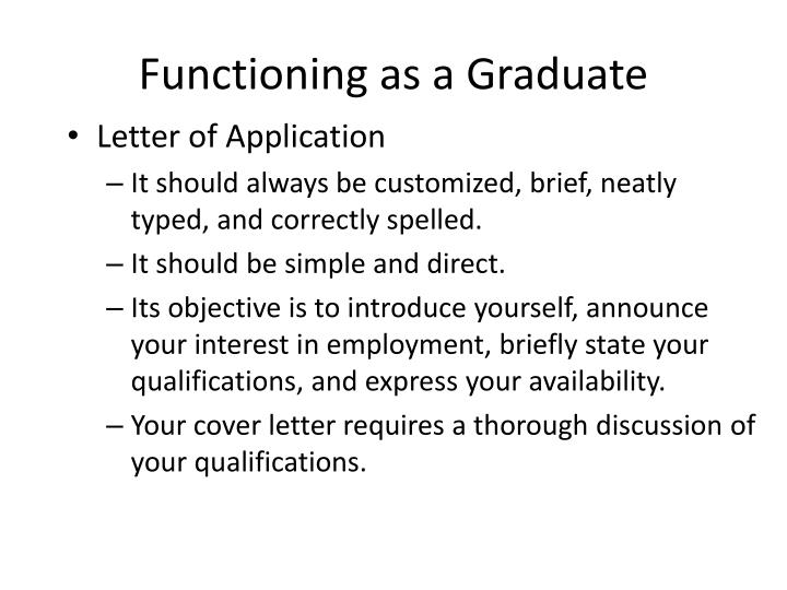 Functioning as a graduate1