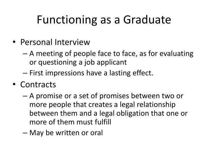 Functioning as a Graduate