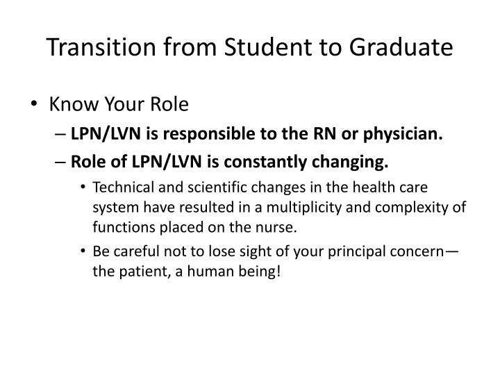 Transition from Student to Graduate