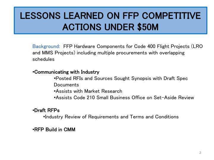 Lessons learned on ffp competitive actions under 50m