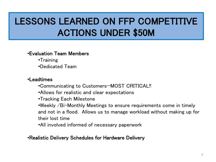 Lessons learned on ffp competitive actions under 50m1