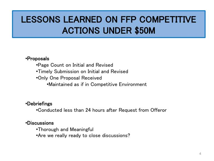 LESSONS LEARNED ON FFP COMPETITIVE ACTIONS UNDER $50M