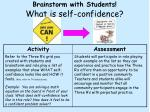 brainstorm with students what is self confidence